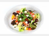Greek Mixed Salad with Olives, Feta Cheese,Olive Oil and Sweet Basil