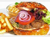 Homemade Hamburger from Veal, Salad Coleslaw and French Fries