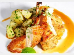 Roast Chicken Breast with Bun Stuffing with Almonds and Parsley Potatoes