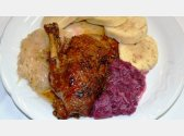 Roasted Duck, Potato or Bread Dumplings and Stewed White or Red Cabbage