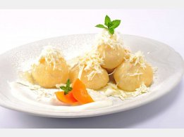 Fruit Dumplings with Cottage cheese, Melted Butter and Sugar
