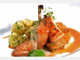 Roast Chicken Breast with Bun Stuffing with Almonds, Herb Potatoes