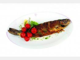 Grilled trout with cherry tomatoes