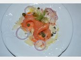 Smoked Salmon with Parmesan Shavings, Olive Oil, Capers and Fennel Salad with Red Onion